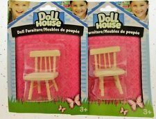 Doll House Furniture Miniature wooden dining room chairs diningroom chair