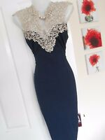 *STUNNING* AX PARIS SIZE 14 NAVY IVORY LACE TOP WIGGLE DRESS *FAST POSTAGE**
