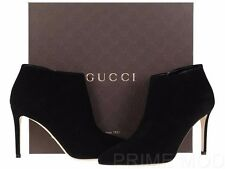 NEW GUCCI LUXURY BLACK SUEDE LEATHER LOGO ANKLE BOOTS DRESS SHOES 36/US 6