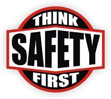 Think Safety First Hard Hat Decal / Helmet Sticker Label Safety Worker Laborer