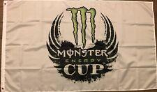 Monster Energy Cup Flag 3x5 White Banner Nascar Racing Series