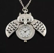 SILVER PLATED OWL SHAPE QUARTZ POCKET WATCH WITH PENDANT NECKLACE CHAIN