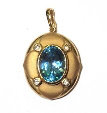 14k yellow gold blue topaz cubic zirconia pendant slide 7g estate vintage