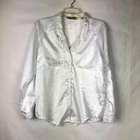 Diane von Furstenberg DVF Women's White Button Down Blouse Size M Shirt Top 82P