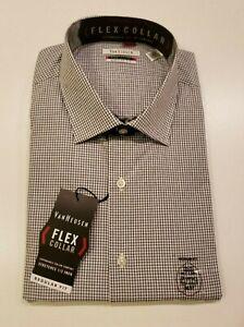 VAN HEUSEN Men's Black Shirt Size XL 17-17 1/2 36/37 L/S Regular Fit Button Up