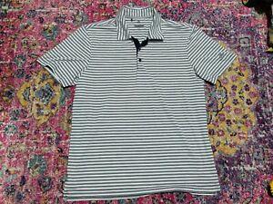 Adidas Golf Polo Short Sleeve Striped White Blue Large Button Shirt