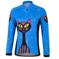 Blue Cat Long Sleeve Cycle Jersey Womens Large Cycling Jersey Bike Bicycle Shirt