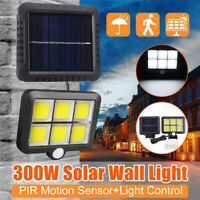 120 LED Solar Powered Wall Light PIR Motion Outdoor Garden Security Flood Lamp @