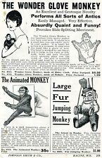 1929 small Print Ad of The Wonder Glove Monkey, Animated & Fur Jumping Monkey