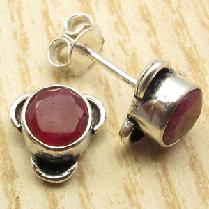 "Just $0.99 HANDMADE STUD Earrings 0.4"" ! 925 Silver Plated Simulated RUBY"