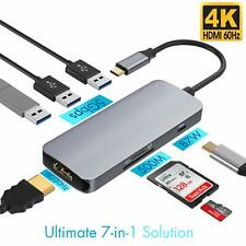 7-in-1 Type C Hub with USB 3.0 Ports HDMI 4K Adapter SD TF Card Reader Macbook