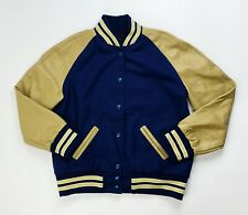 Holloway Women's Medium Genuine Leather Snap Letterman Jacket Blue Gold