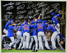Chicago Cubs 2016 WS Champ Team Autographed Photo Signed by 27. MLB holo BAS LOA