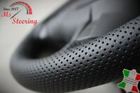 BLACK PERFORATED LEATHER STEERING WHEEL COVER FOR PEUGEOT 206 BLACK STITCH