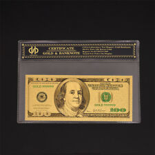 Color Gold Banknote Dollar $100 UNC Paper Money Collection With COA Holder