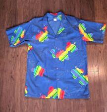 Op Ocean Pacific Hawaiian Shirt Mens XL Blue Rainbow Flowers Surf Vintage