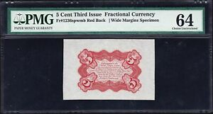 FR 1236spwmb - 5 CENT THIRD ISSUE WIDE MARGINS RED BACK SPECIMEN - PMG 64 SCARCE