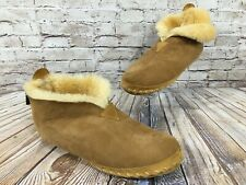 LL BEAN Wicked Good Shearling Bootie Slippers Men's 12 M Tan Brown