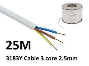 25M White PVC Flexible Cable Flex 3 core 2.5mm 25 Amp 3183Y