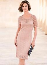 Dusty Pink Fitted Stretch Lace Dress Size 14 NEW SEASON