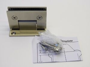 (2pcs) Glass Shower Door Hinge Square Glass to Wall Full Back, Brushed Nickel