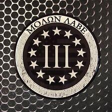 """USA Molon Labe 3% Sticker Come and Take It Domed Decal 3 Percenter 3D 3"""" America"""