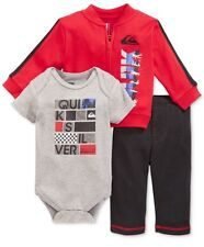 NWT Quicksilver Baby Newborn Boy 3Pc Outfit Set Red Jacket Bodysuit Pants 3-6 Mo