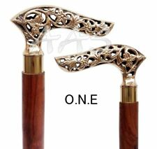 New listing Walking Stick Vintage Style Engraved Brass Handle Victorian Canes Handmade Gift