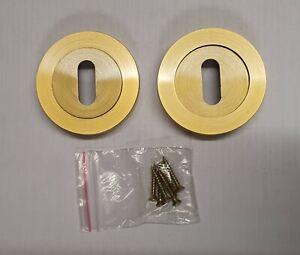 Box of 40 Satin Brass Keyhole Escwtcheons keyhole covers