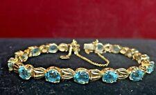VINTAGE ESTATE 18K GOLD NATURAL  BLUE ZIRCON  BRACELET TENNIS ART NOUVEAU 14.8 g