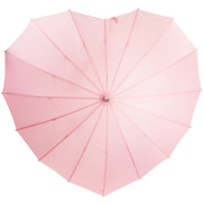 SOAKE Pink Heart Boutique Umbrella 16 Ribbed Large Soft Handle Women Unisex