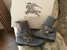"""Burberry Boots """" Worcester """" Belted Gray Suede 37.5 EU"""