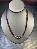 Vintage Bohemian Beaded multi Strand Deep Red Glass Seed Bead Necklace 18""