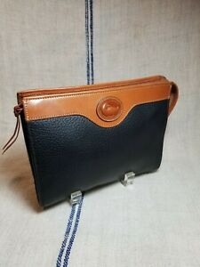Vintage Dooney and Bourke Black Leather Cosmetic Bag