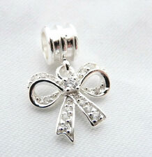 925 Sterling Silver  - 'BOW with CZ'  -  Dangle European Charm Bead