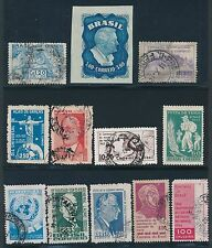 "BRAZIL ""38 COMMEMORATIVES & AIRMAILS (1951-62)"" MOSTLY USED; CV $11"