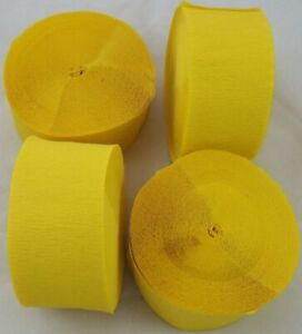 4 Yellow Large Crepe paper EACH streamers 26 metre x 45mm by clikkabox