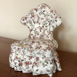 VTG Miniature Dollhouse Accent Chair w/ Floral Upholstery Scallop & Skirt Detail