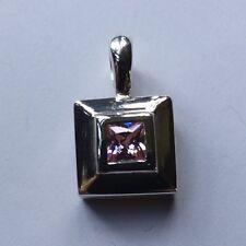 Sterling Silver Pendant with Square Polished Compression Set Pink CZ Design
