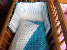 Cushi Culle per bambini altalena culla paraurti e Set Piumone Turchese Stelle Su Bianco Nuovo