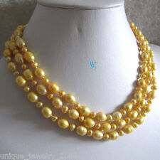 """49"""" 4-9mm Golden Off Round Rice Freshwater Pearl Necklace"""