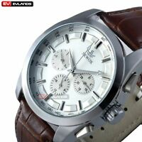 Vintage Mechanical Stainless Steel Steampunk Automatic Wrist Watch Leather Date