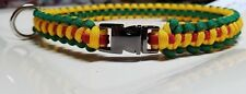 "Vietnam ""Service Ribbon"" Large Paracord Dog Collar 15"" + Green Yellow Red Band"