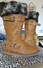 ladies tan knee length boots with faux fur sizes3-8