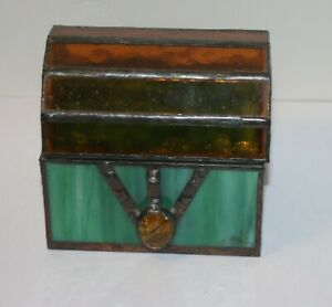 Iridescent Stained Glass Trinket Box Treasure Chest Trunk Vintage