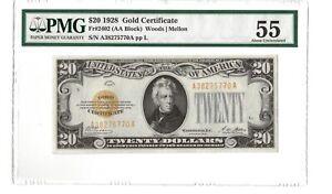 1928 $20 Gold Certificate (US Note) - PMG55 -FR#2402 (Block AA) - Woods | Mellon