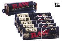 AUTHENTIC RAW 6PC Bundle - (5X) 1-1/4 Size BLACK Papers + Rolling Machine