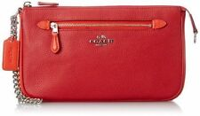 COACH Nolita Colorblock Pebbled Leather Purse RED + ORANGE Silver Chain NWT $175