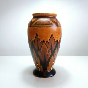 "1920s George Clews & Co Ltd. Chameleon Ware Art Deco Vase in Orange & Brown, 7"""