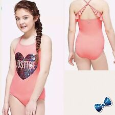Justice Girls  14 Flip Sequin One Piece Swimsuit  New